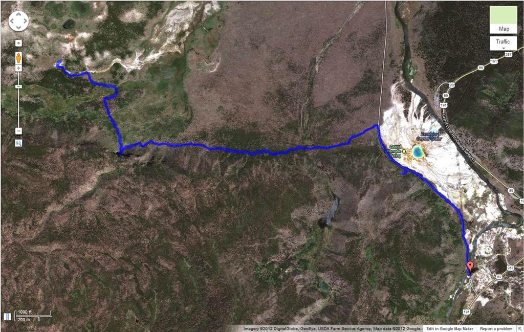 Fairy Falls hike trail - GPS tracking