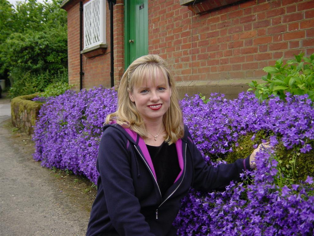 Kathy with flowers in Shere