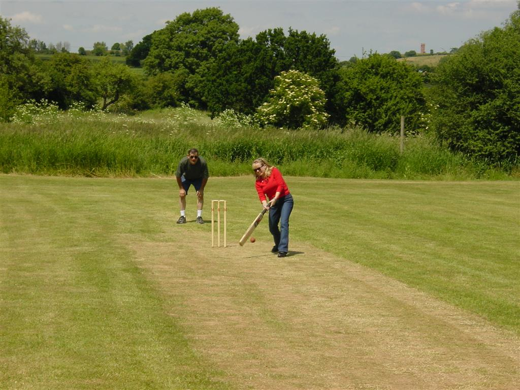 Kathy plays cricket