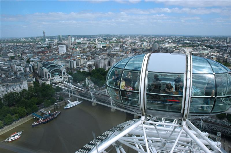 Looking out across London from the London Eye