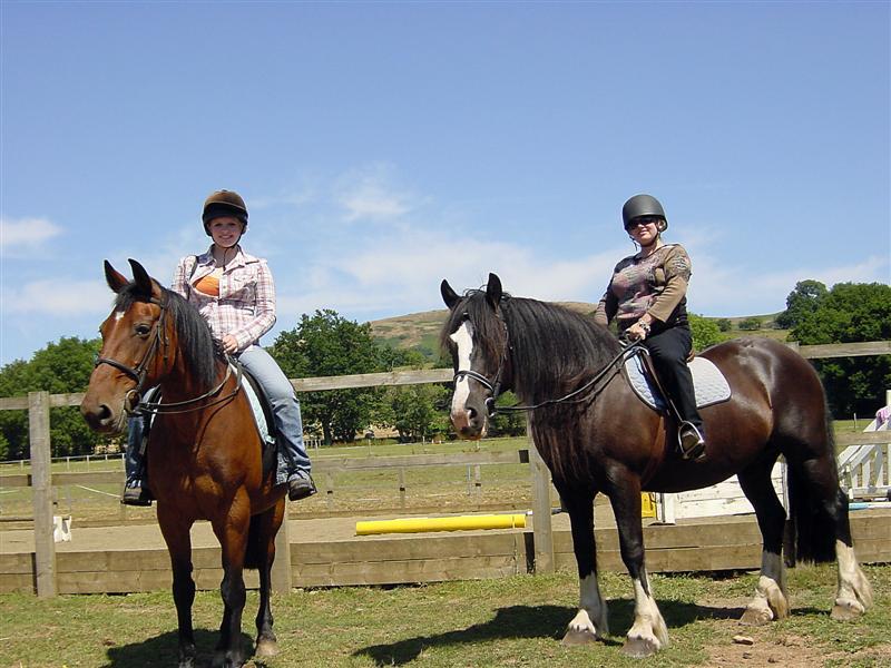 Melanie and Kathy ready to ride
