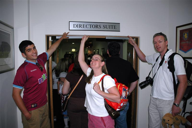 Andrew, Jenny, and Julian ready to enter the Director s Suite