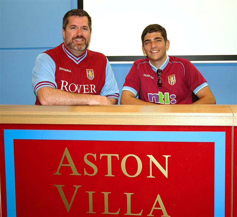 Dad and Andrew at the Villa press desk