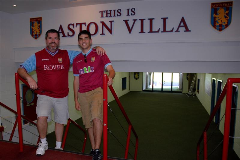 Dad and Andrew - player entrance to the pitch