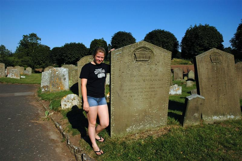 Melanie and the huge tombstones