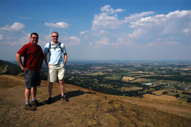 Roger and Julian atop the Malverns