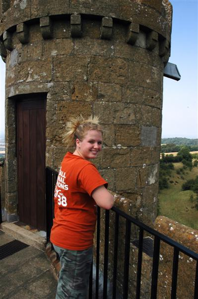Melanie atop the Broadway Tower