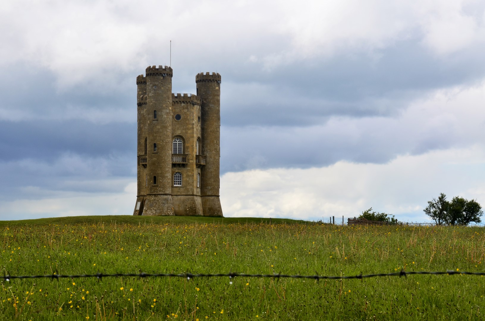 Broadway Tower on a rainy day