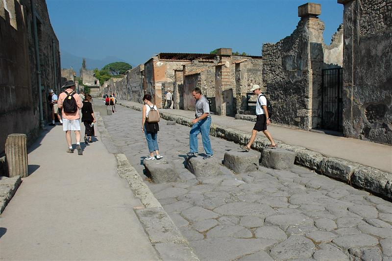 Note the stone walkways, to help pedestrians across the streets