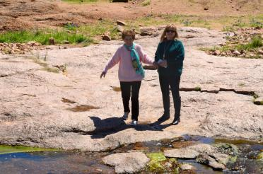 Geri and Kathy - fording the stream