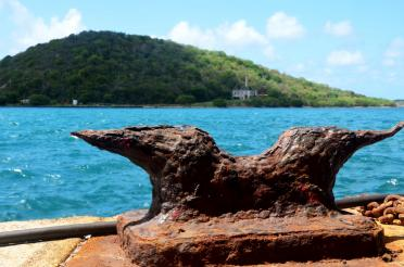 Rusted tie-off at Charlotte Amalie Harbor