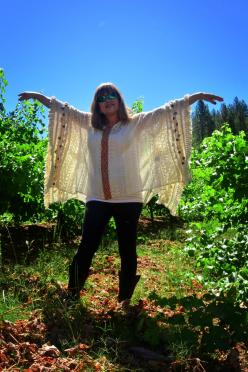 Boeger Winery - sunlit Kathy in the grapevines
