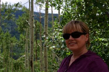 Kathy and aspen trees