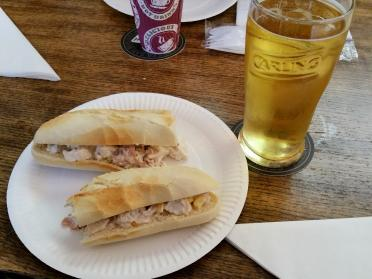 Chicken sandwich and cider