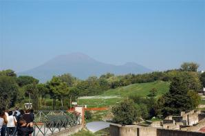 Mt. Vesuvius looms in the distance