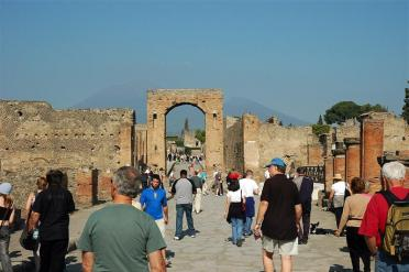 Pompeii ruins with Vesuvius in distance