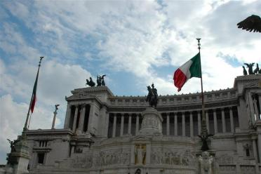 Italian flag at the Vittorio monument