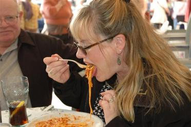 Kathy enjoys her first 'real' Italian meal