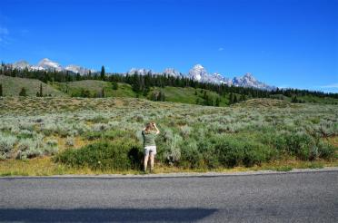 Kathy taking a picture of the Teton range