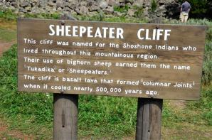 Sheepeater Cliff sign