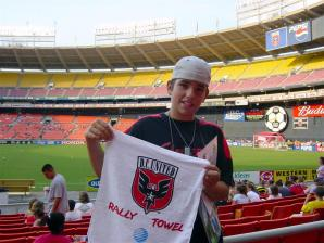Andrew and his D.C. United Rally Towel pre-match