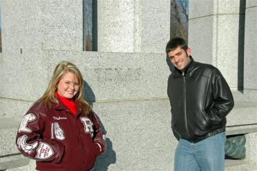 Mel and Andrew - Texas marker at WWII Memorial