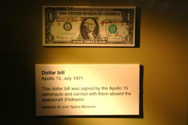 Apollo 15 signed dollar bill