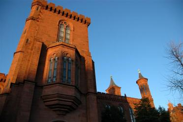 Late afternoon sunlit Smithsonian Castle